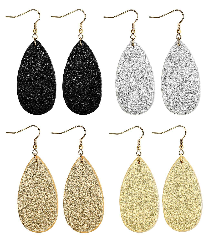 FIBO STEEL Teardrop Leather Earrings for Women Girls Dangle Drop Earrings 4 Pairs 1WPEH-4