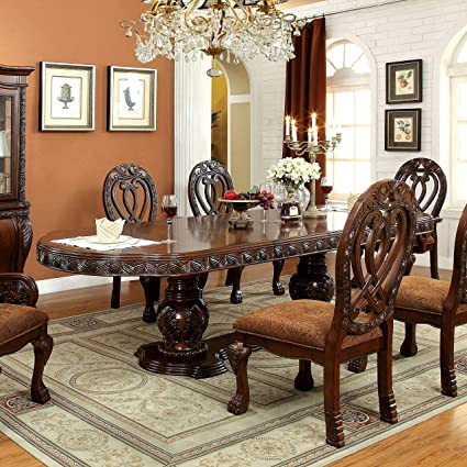 6b7affea8c Amazon.com - Furniture of America Beaufort Formal 112-inch Dining Table  Cherry Cherry Finish - Tables