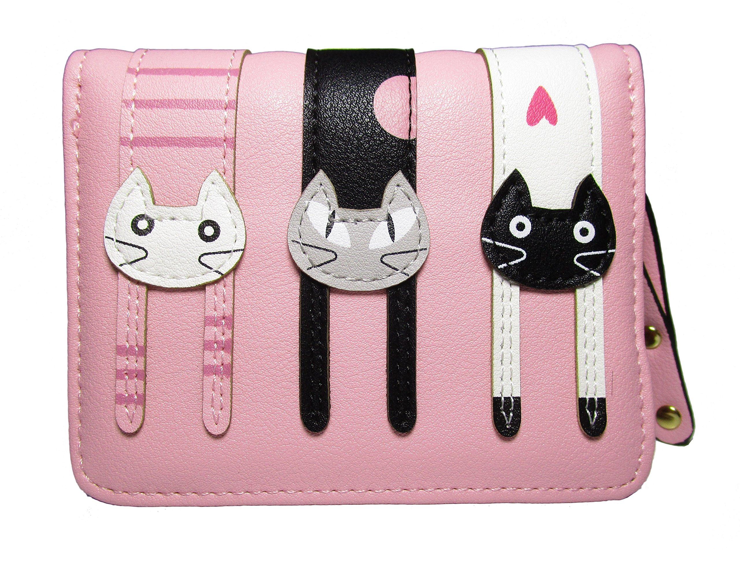 Nawoshow Women Cute Cat Wallet Coin Purse Bifold Wallet Clutch Bag(Pink)