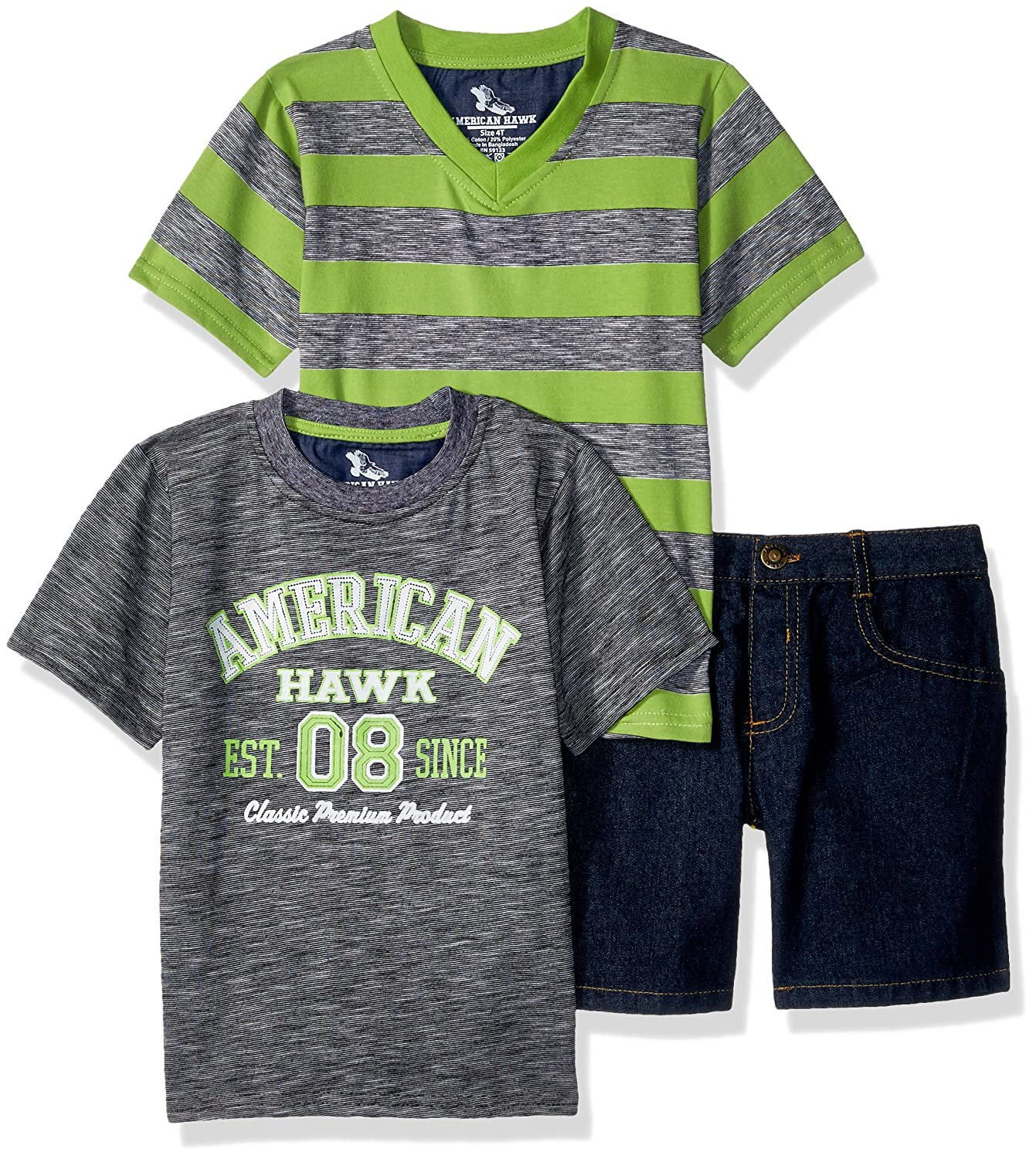 American Hawk Boys 3 Piece Graphic and Denim Short SS52 V-Neck T-Shirt