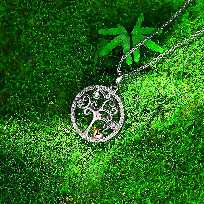collana Lunghezza della catena fino a 48 cm SG/♥Reyes orecchini albero della vita Parure in argento 925 da donna Con zirconi AAA. Un meraviglioso portafortuna