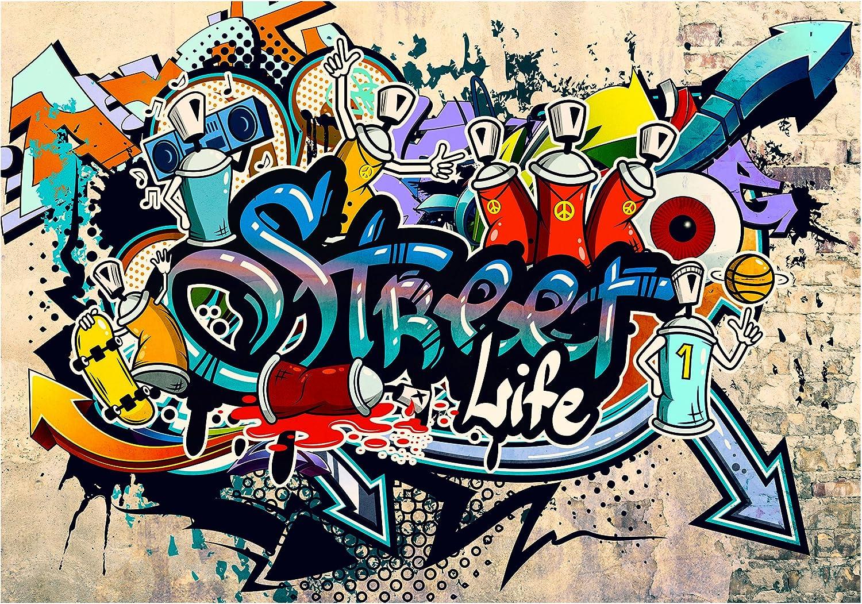 Papier peint intiss/é Graffiti 300x210 cm Trompe l oeil decomonkey D/éco Mural Tableaux Muraux Photo Street Art Brique Mur de Pierre