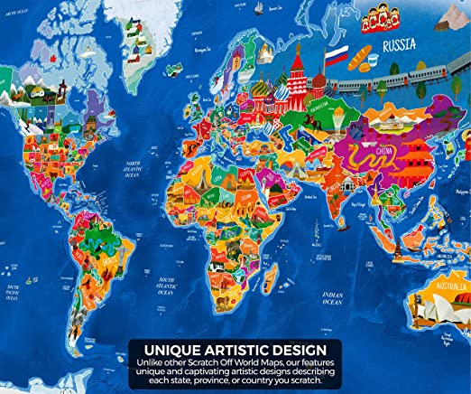Amazon enfy scratch off world map poster with illustrations amazon enfy scratch off world map poster with illustrations scratch off poster travel map of the world with us states for travelers adults and kids gumiabroncs Choice Image