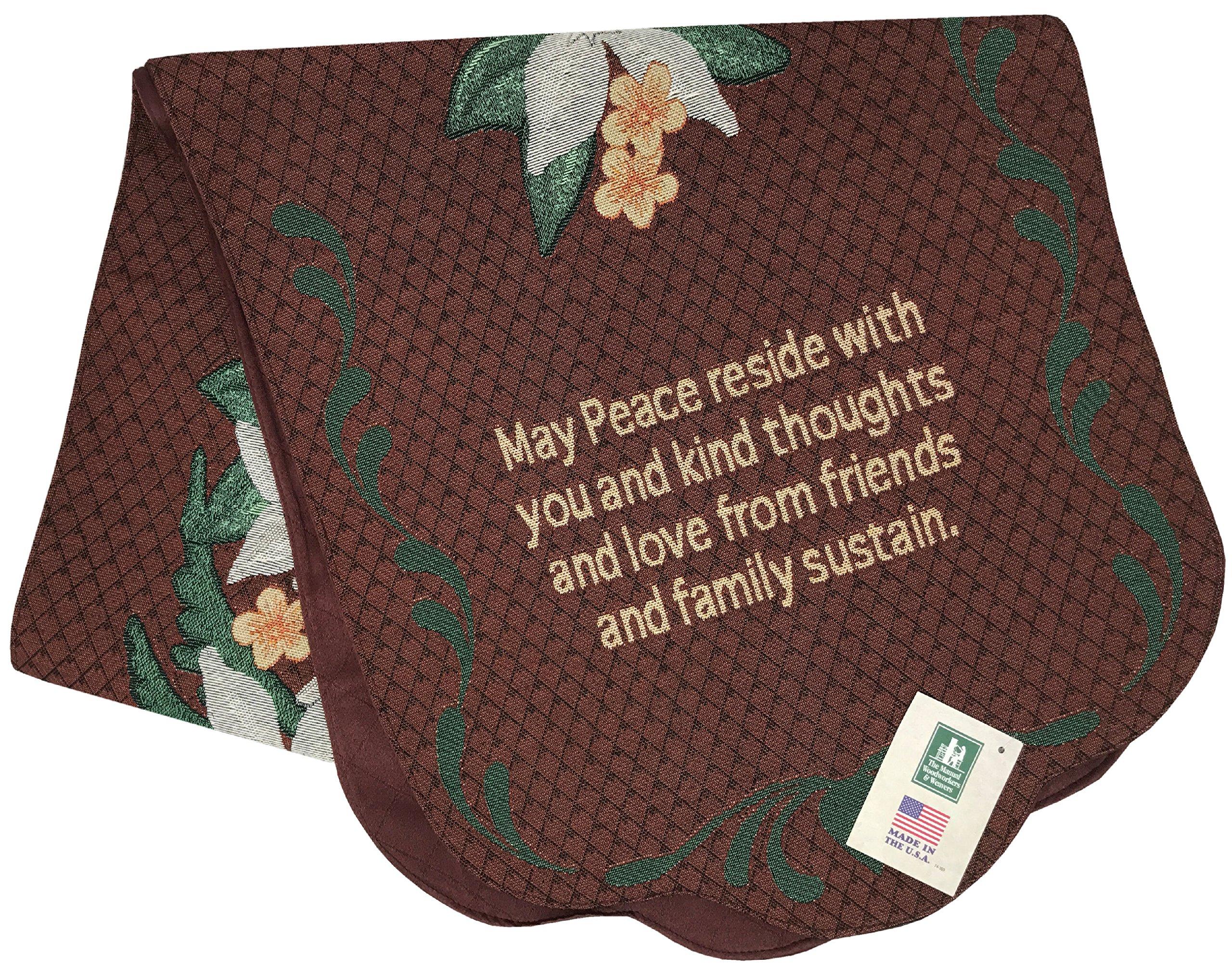 Manual Tapestry Funeral Memorial Scarf, May Peace Reside, TMAYPR 17x72''