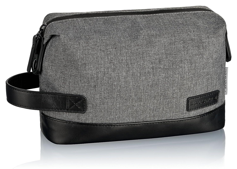 TRAVELSEVEN Premium Kulturtasche und Waschtasche für Frau und Mann, Dunkelgrau, Kosmetiktasche für Reisen, robust, Wasserabweisend