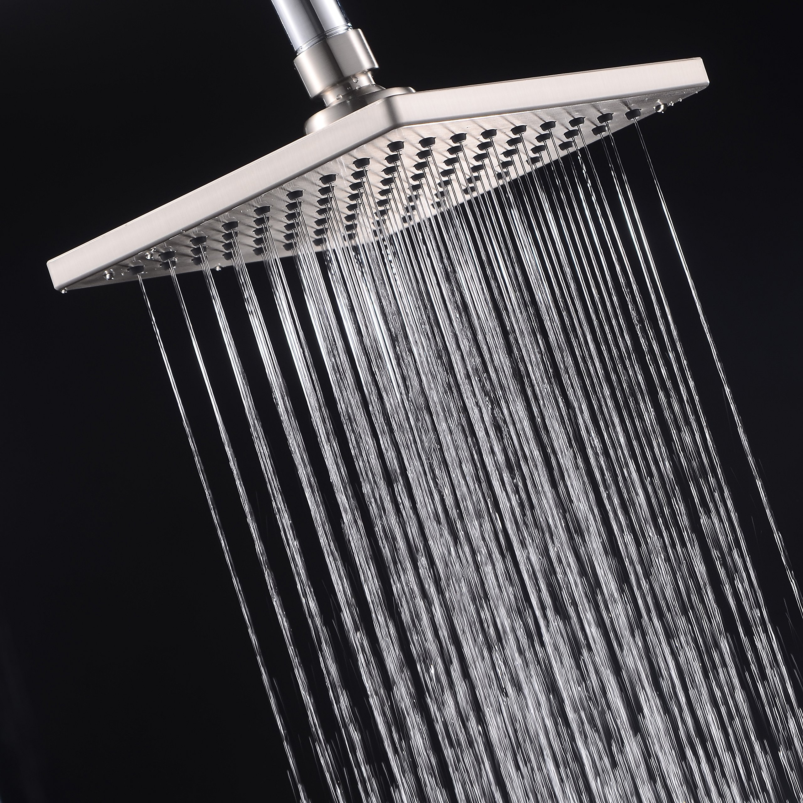 Brushed Nickel 6-inch Square Rain Shower Head, Stainless Steel Back and Brass Swivel Ball Joint