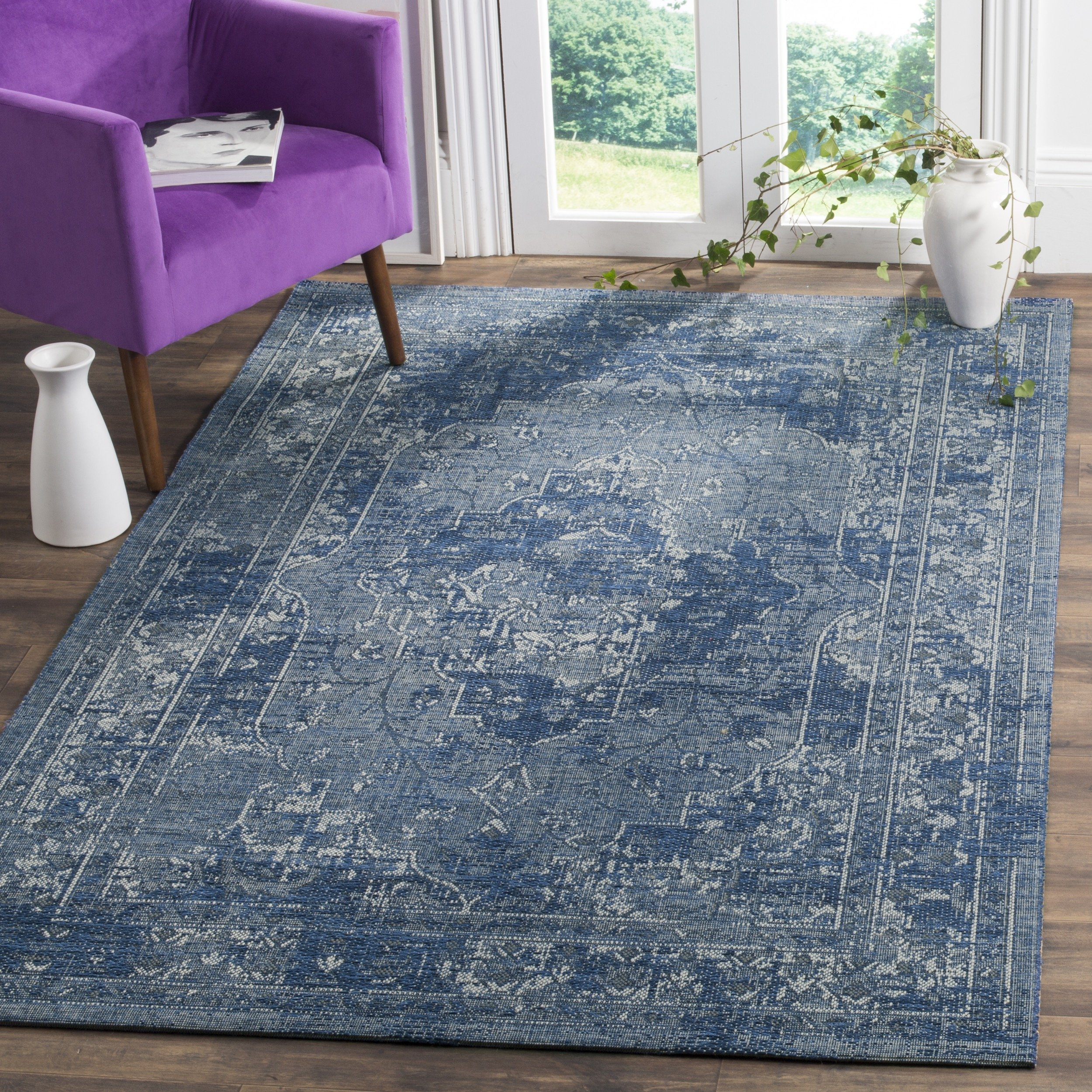 Safavieh Palazzo Collection PAL128-7970 Blue and Light Grey Area Rug, 5' x 8'