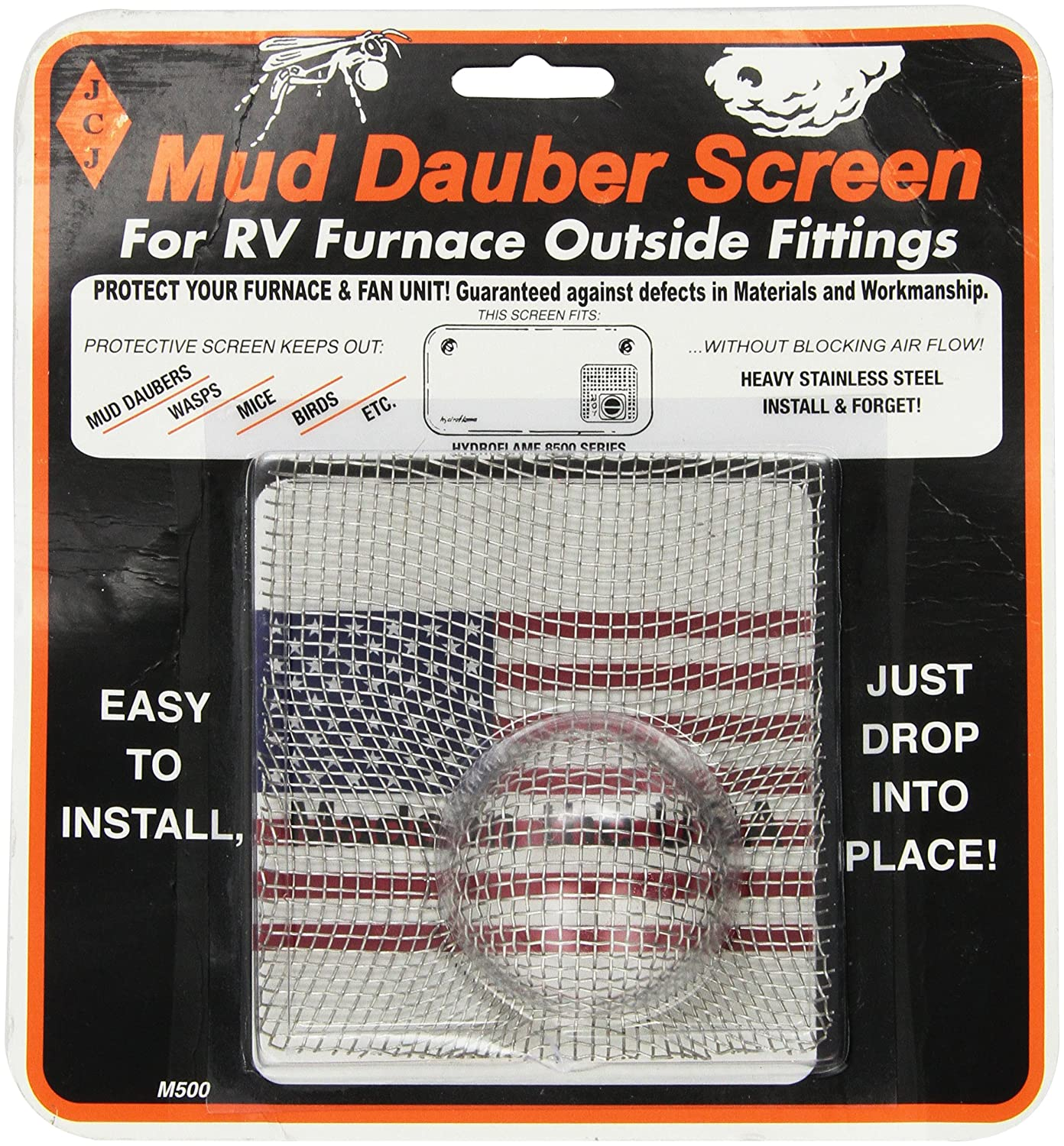JCJ M-500 Mud Dauber Screen for RV furnace Outside Fitting