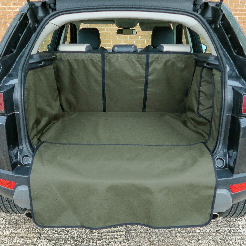 Titan Custom Car Boot Liner with Bumper Flap and Split Seat, Green Titan Covers