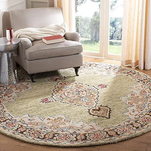 Safavieh Aspen Collection APN506A Handmade Wool Area Rug, 7 x 7 Round, Sage Brown