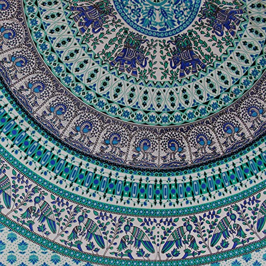Elephant Mandala Print Tapestry Tablecloth Bedspread Cotton Queen 106x106 Inches