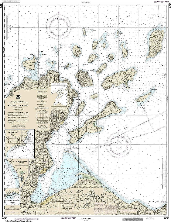 Amazon Com Noaa Chart 14973 Apostle Islands Including Chequamegan