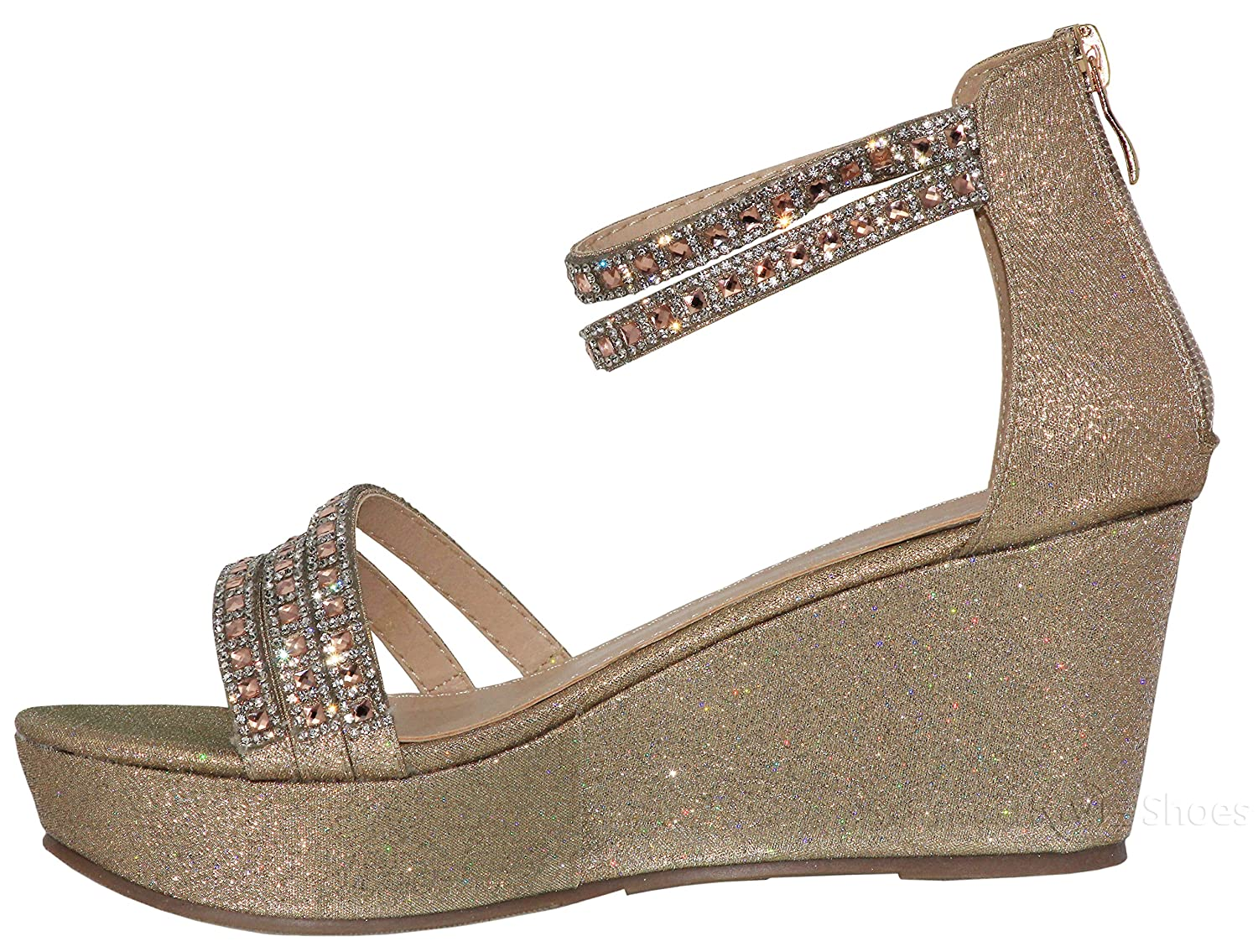 MVE Shoes Womens High Heel Wedges Sandals Cute Crystal