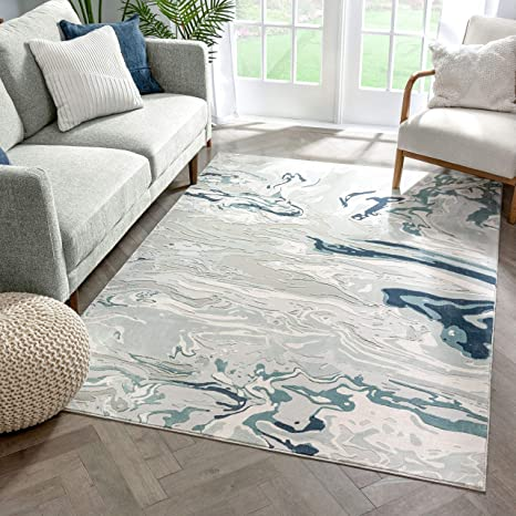 Well Woven Windsor Alden Abstract Modern Watercolor Blue Area Rug 5 3 X 7 3 Furniture Decor