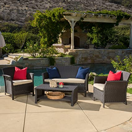 Clearwater Outdoor Patio Furniture 4 Piece Brown Wicker Sofa Set W/ Cushions