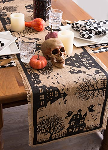 Halloween Burlap Table Runner, Haunted House