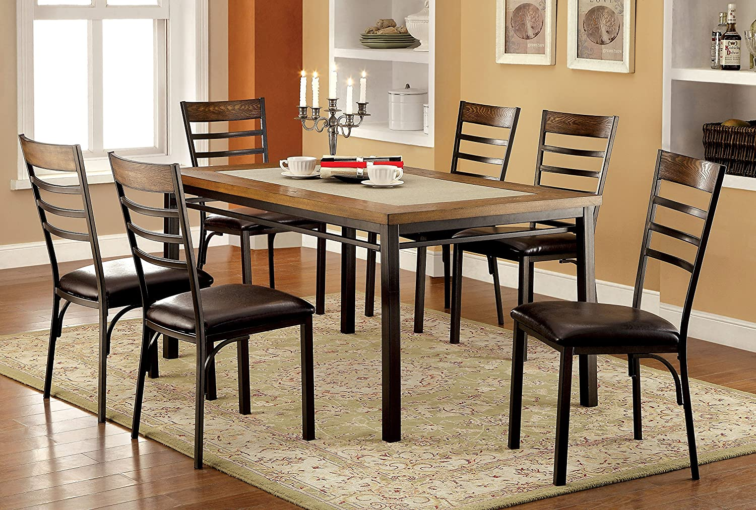 Amazoncom Furniture Of America Naga Industrial Dining Table - Industrial dining room chairs