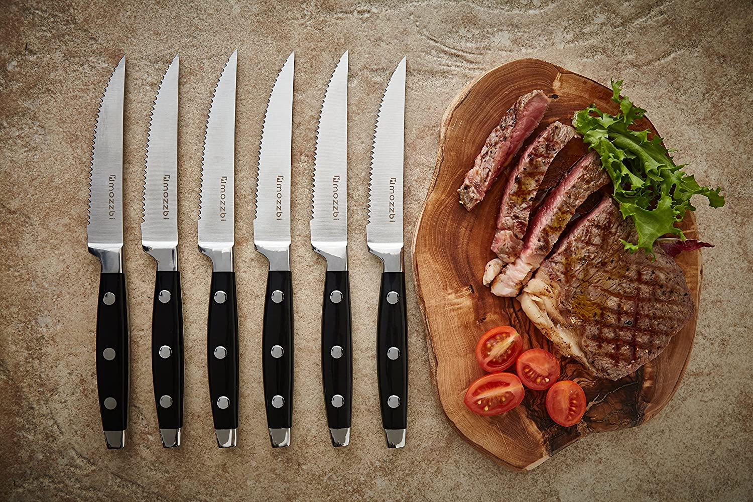 Mozzbi 6-Pcs Premium Serrated Steak Knives
