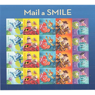 USPS Forever Stamps Disney Pixar Mail a Smile - Sheet of 20 Stamps: Toys & Games