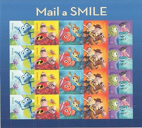 Usps Christmas Stamps 2019.Usps Forever Stamps Disney Pixar Mail A Smile Sheet Of 20 Stamps