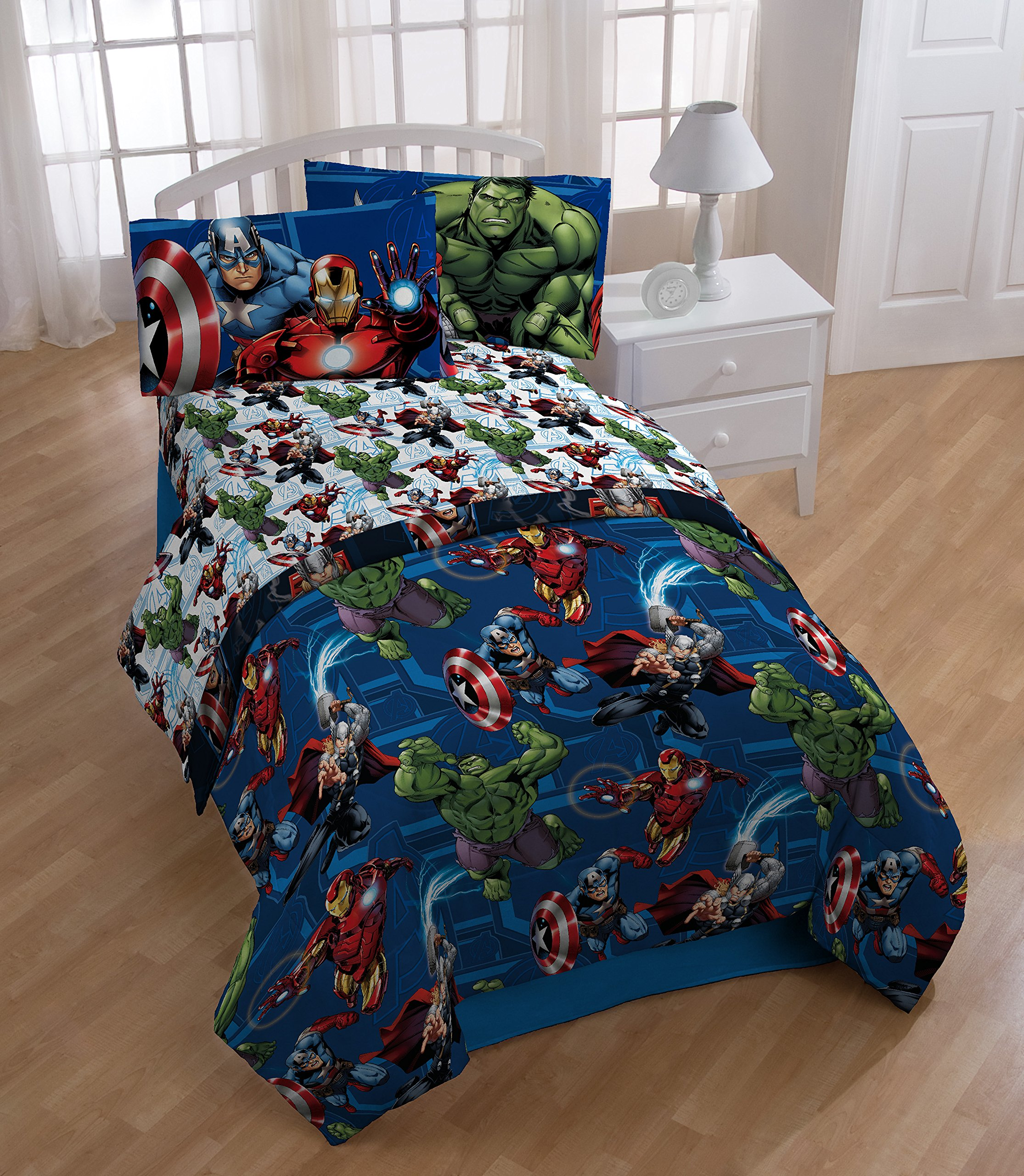 Marvel Avengers Heroic Age Blue/White 3 Piece Twin Sheet Set with Captain America, Thor, Ironman & Hulk by Marvel (Image #2)