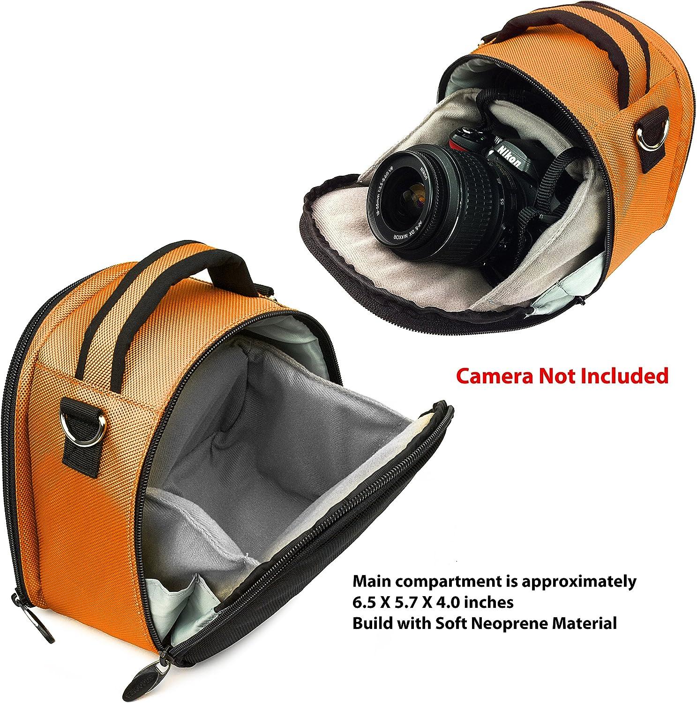 T5 T3i Nylon SLR Bag Orange for Canon EOS Rebel T5i T6s Digital SLR Camera and Screen Protector and Screen Protector and Mini Tripod T3i