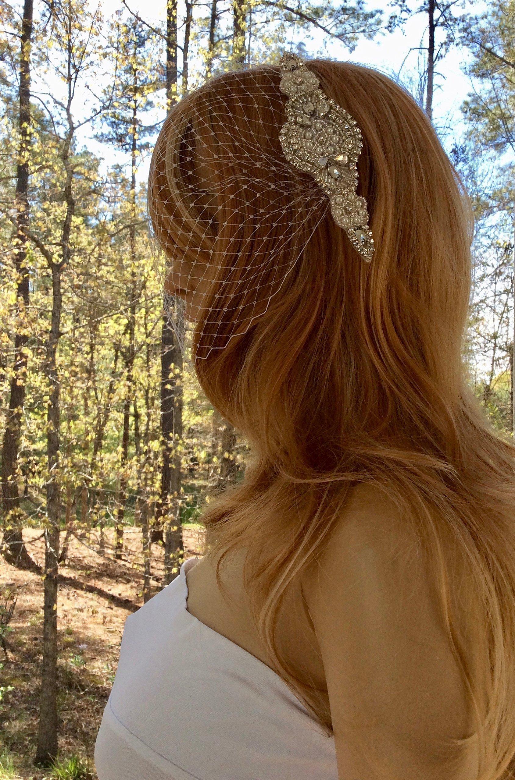 Rhinestone Pearl Comb with Bandeau Veil for Wedding Bride