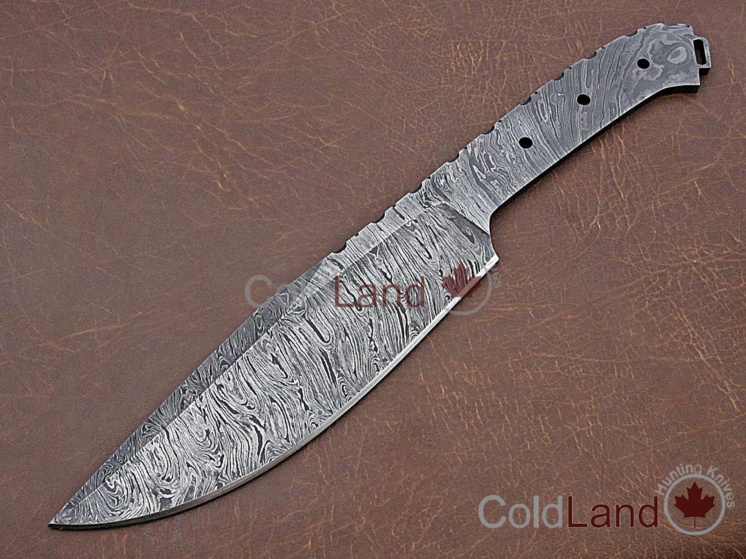 ColdLand |13'' Hand Forged Damascus Steel Blank Blade for Tactical Combat Survival Camping Outdoor Bushcraft Knife Making Supplies NB06