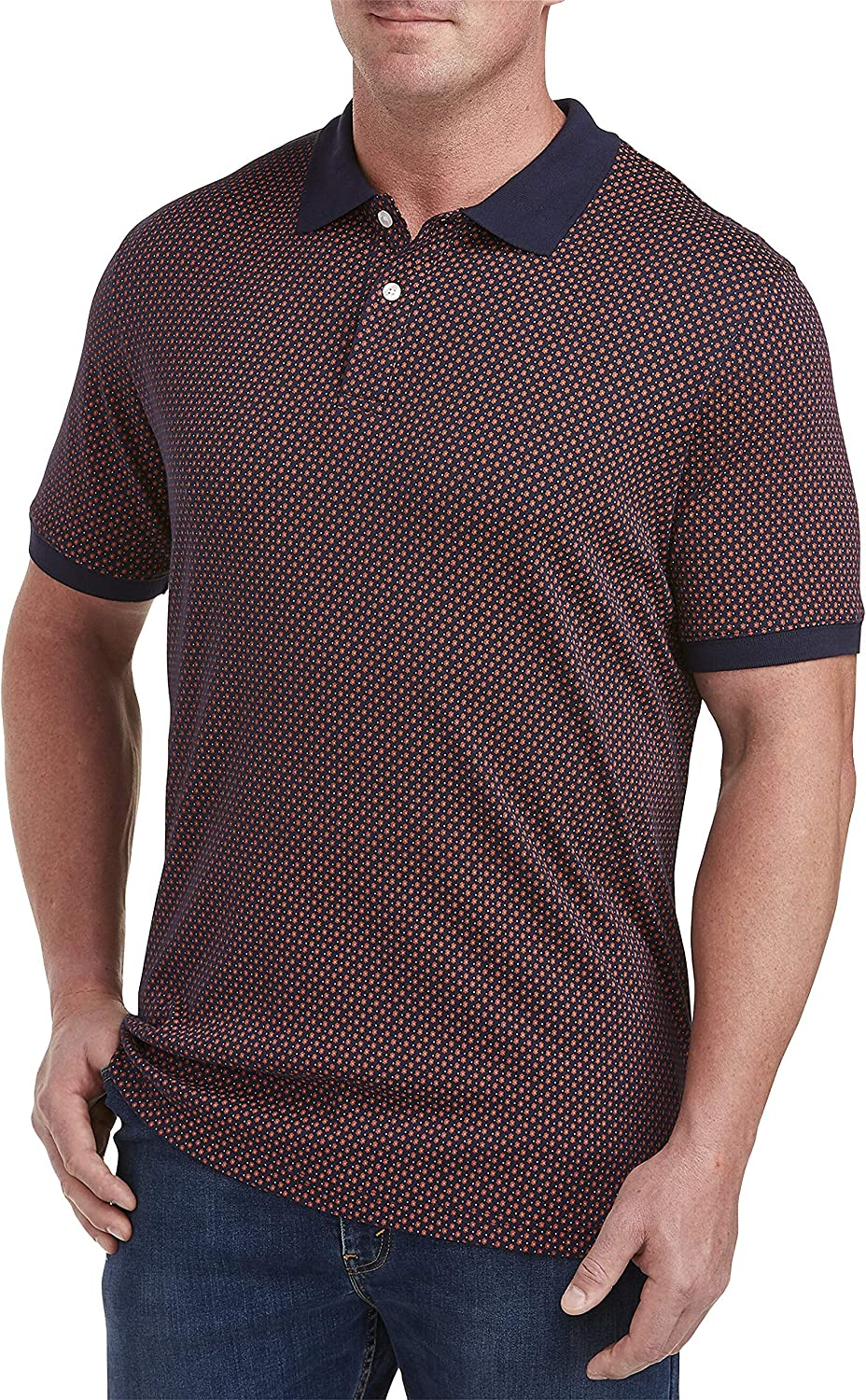 Harbor Bay by DXL Big and Tall Small Bi-Color Stripe Polo
