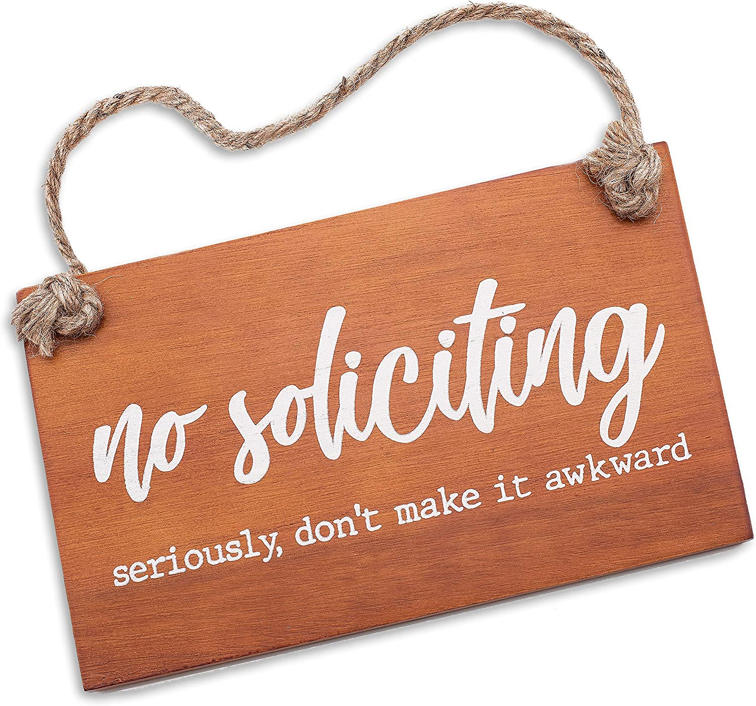 Treasure Trades No Soliciting Sign for House Entry Funny - Door Hanging Sign on Rope Hanger (Seriously, Don't Make it Awkward)