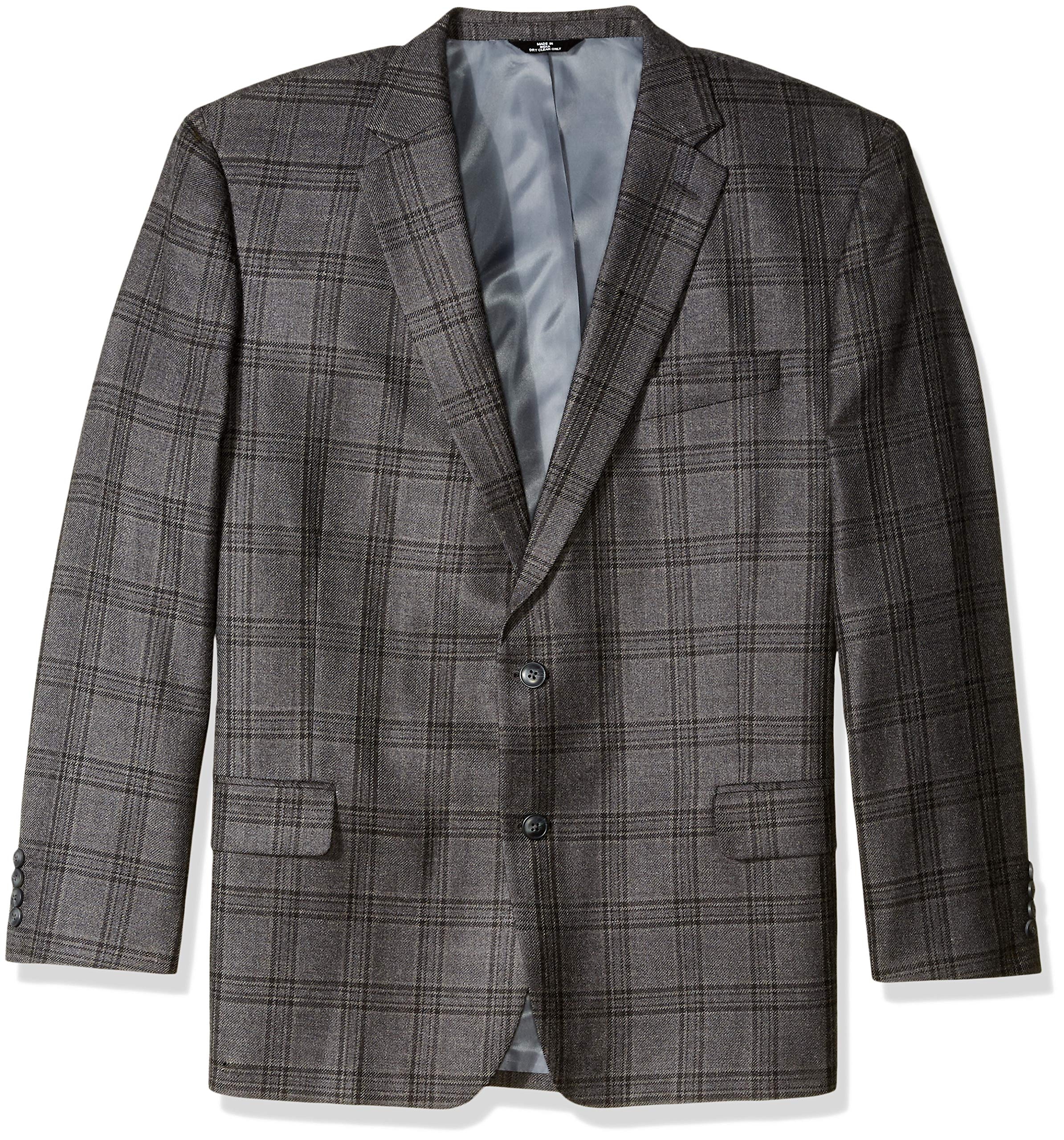 Haggar Men's Tall B&T Plaid Lambswool Classic Fit Sport Coat, Dark Heather Grey 52L