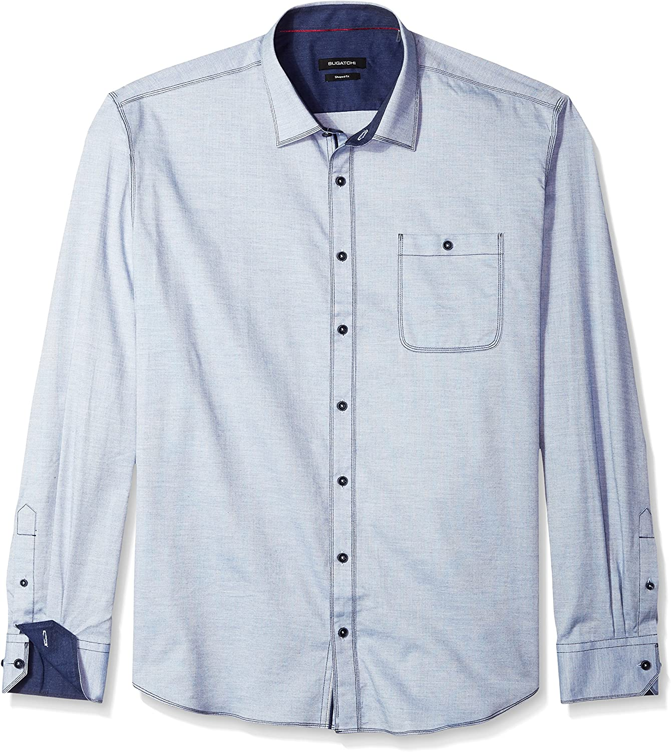 Bugatchi Mens Long Sleeve Shaped Fit Chambray Cotton Button Down Shirt