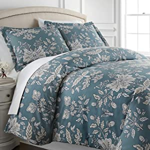 Vintage Garden Collection - Premium Quality, Soft, Wrinkle, Fade, & Stain Resistant, Easy Care, Oversized Duvet Cover Set, King / California King, Blue,