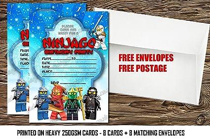 Invitation De Fête D Anniversaire Lego Ninjago Lego Ninjago Invitation épais Cartes Enveloppes 8