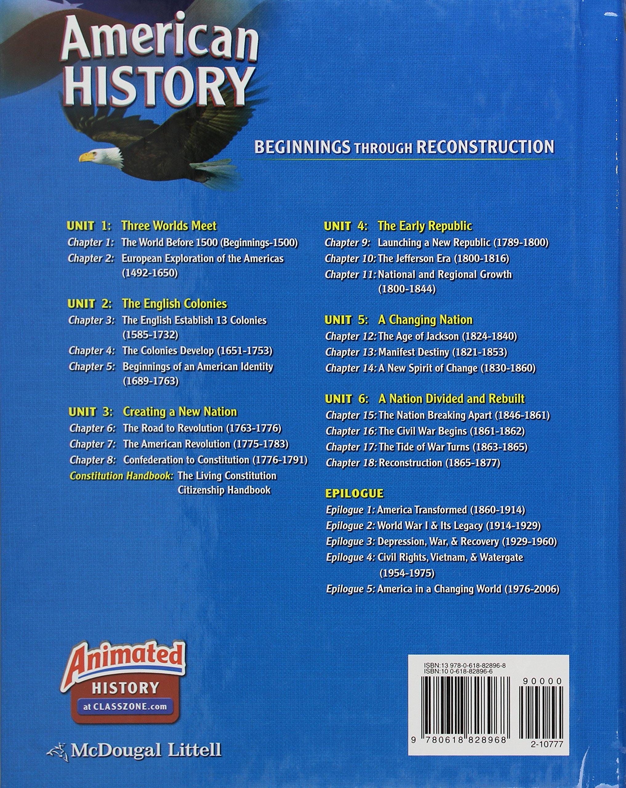 Amazon.com: McDougal Littell Middle School American History: Student  Edition Beginnings through Reconstruction 2008 (9780618828968): MCDOUGAL  LITTEL: Books