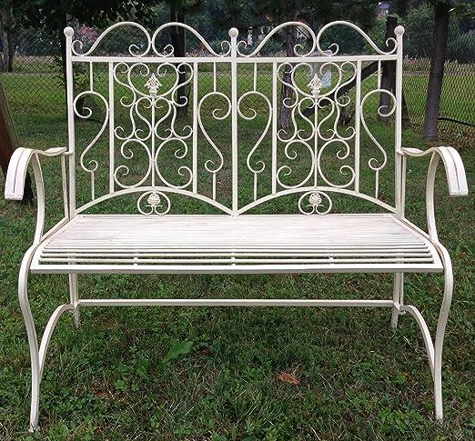 Banco de jardín de hierro forjado de Clever Deko para jardín, banco de hierro, banco de jardín en color crema y blanco, de dos plazas: Amazon.es: Jardín