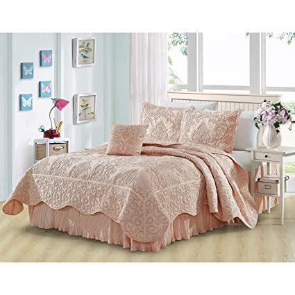 Amazon mi 5 piece pink damask king coverlet set coastal mi 5 piece pink damask king coverlet set coastal flowers embroidered floral themed bedding mightylinksfo
