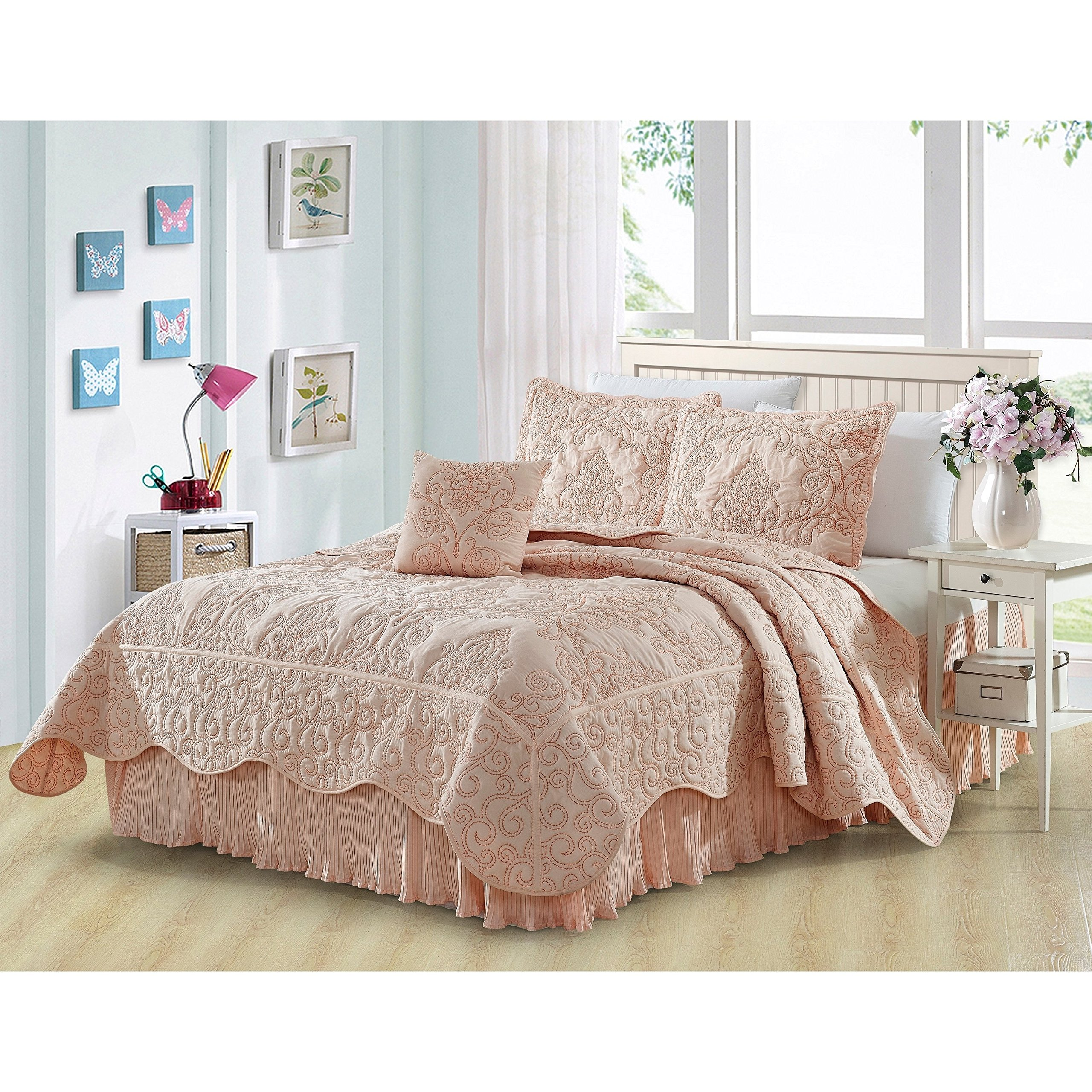 5 Piece Pink Damask Full Queen Coverlet Set, Coastal Flowers Embroidered Floral Themed Bedding, Motif Flower Quilted Pattern Elegant Classy Vintage Style Cross Stitching Bed Skirt, Polyester