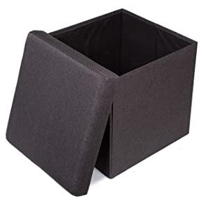 BIRDROCK HOME Folding Storage Ottoman - Upholstered - 16 x 16 - Linen - Strong and Sturdy - Quick and Easy Assembly - Foot Stool - Black