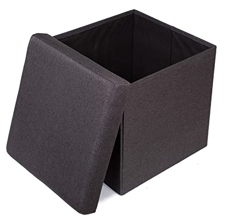 Awe Inspiring Birdrock Home Folding Storage Ottoman Upholstered 16 X 16 Linen Strong And Sturdy Quick And Easy Assembly Foot Stool Black Alphanode Cool Chair Designs And Ideas Alphanodeonline