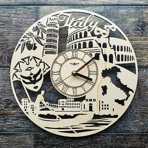 ShareArt Italy Travel Silent Wood Wall Clock