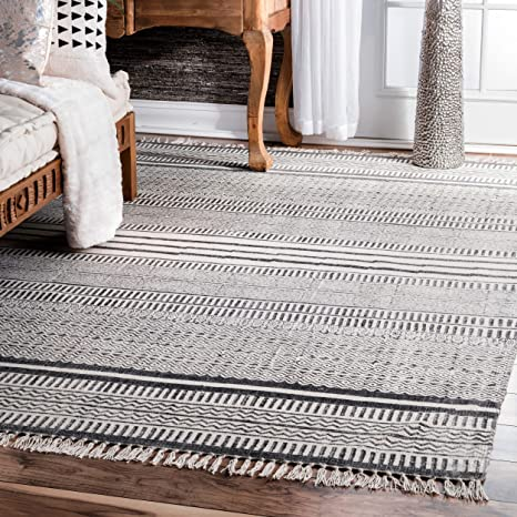 Amazon Com Nuloom Raina Flatweave Area Rug 7 6 X 9 6 Grey Furniture Decor