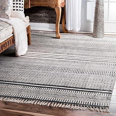 nuLOOM Raina Flatweave Area Rug, 7' 6  x 9' 6 , Gray