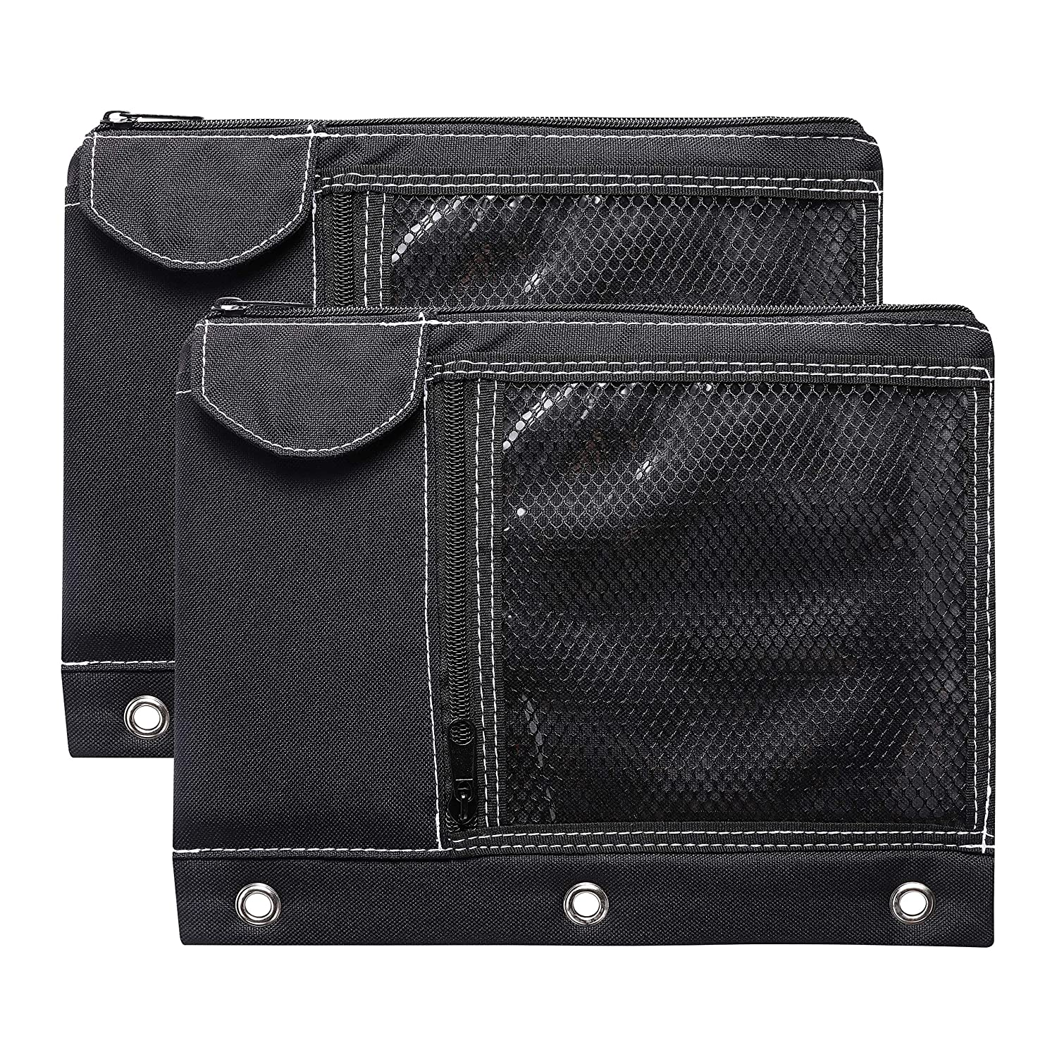 CAXXA 2 Pack 3 Ring Binder Pouch with Mesh Window and Zipper Black