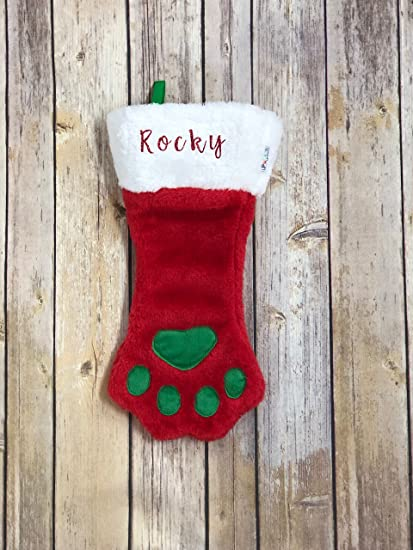 d0f4161f4870 Pucci pet Apparel Personalized Plush Dog Paw Christmas/Holiday Stocking  with Name - Red -