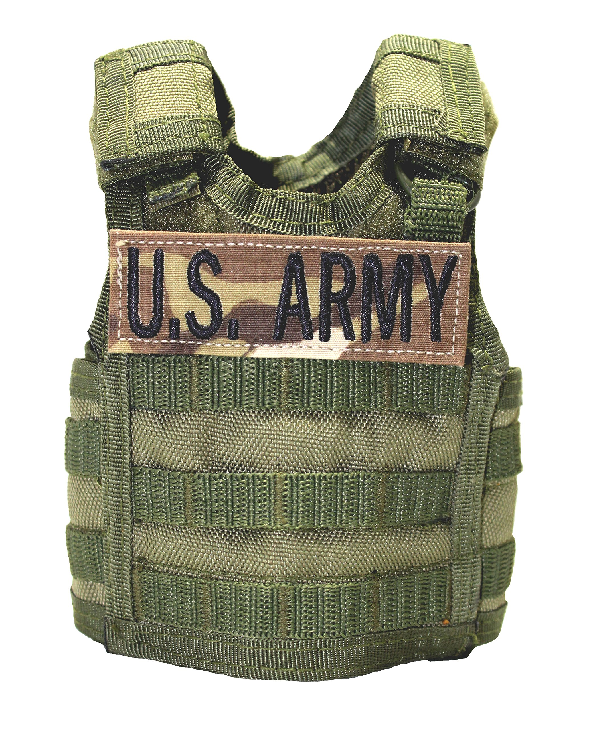 Olive Drab Tactical Deluxe Bottle Can Coolers with a personalized embroidered name tape, Mulitcam, U.S. Army