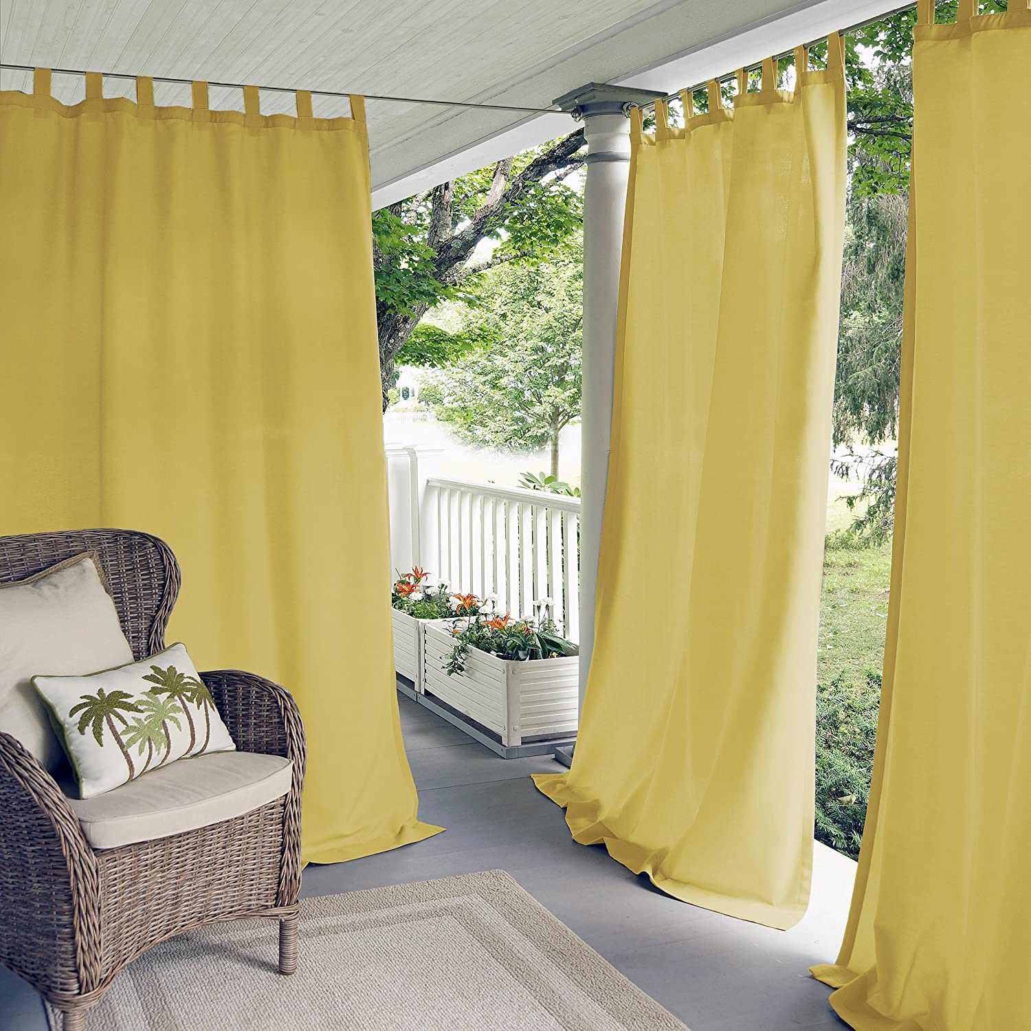 Elrene Home Fashions Indoor/Outdoor Solid Tab Top Single Panel Window Curtain Drape Yellow