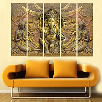 Kyara Arts Multiple Frames Beautiful Ganesha In Modern Art Canvas Wall Painting Framed And Wooden Stretched For Living Room Bedroom Hotels Office 44inchx30inch Amazon In Home Kitchen