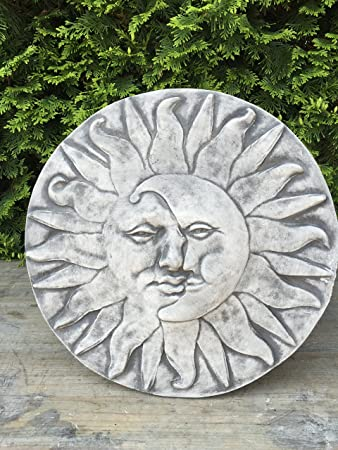 Steinplatte Wand Relief Wandbild Sonne Mond Gesicht Garten Deko 39
