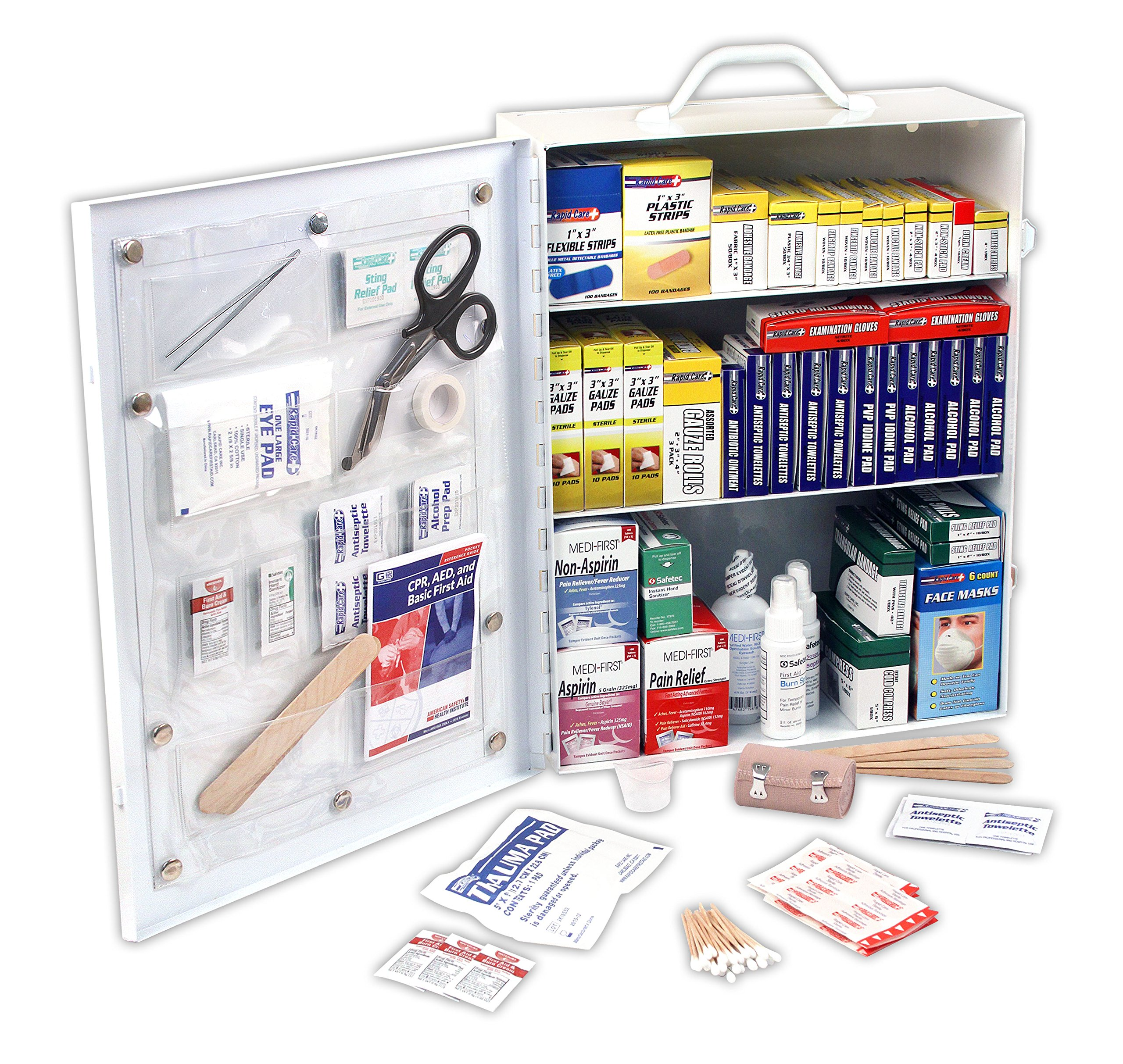 Rapid Care First Aid 80094 3 Shelf OSHA/ANSI First Aid Cabinet by Rapid Care First Aid